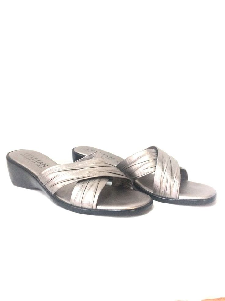 Italian shoemakers, Silver Metallic, sandals, Size 10, Made In Italy #ItalianShoemakers #Sandals