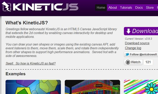 KineticJS is an HTML5 Canvas JavaScript library that extends the 2d context by enabling canvas interactivity for desktop and mobile applications.    You can draw your own shapes or images using the existing canvas API, add event listeners to them, move them, scale them, and rotate them independently from other shapes to support high performance animations.  Served hot with a side of awesomeness.