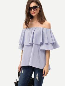 Blusa volantes hombro al aire -azul