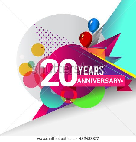 20 years Anniversary logo, Colorful geometric background vector design template…