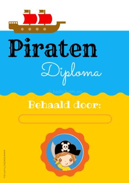 Piraten diploma meisje gratis download I Creatief lifestyle blog Badschuim
