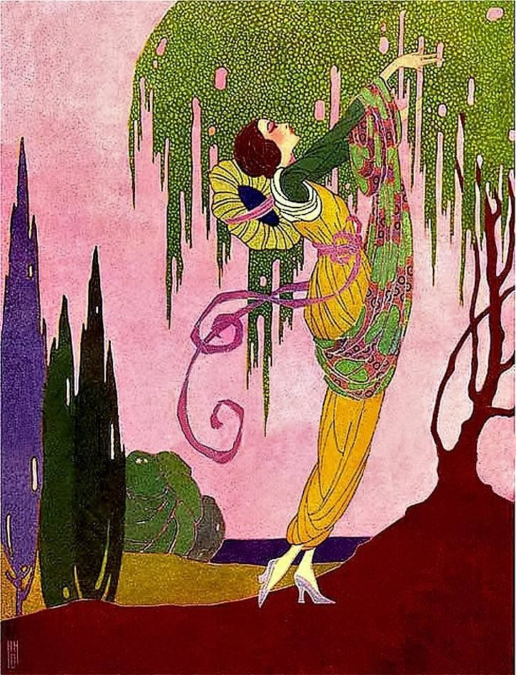 Woman Picking Fruit From Tree George Barbier