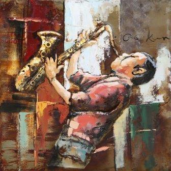 Trendykunst presenteert dit prachtige schilderij van een saxofonist.  Metalen 3D schilderij met warme kleuren.  Schilderij helemaal gemaakt van metaal.
