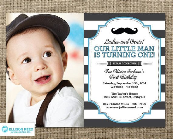 Little Man Invitation - Mustache Invitation - First Birthday Invitation - Mustache Printable - Boy Birthday - Bold Stripes - Little Mister on Etsy, $16.00