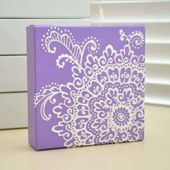 NEW - White on Purple Lavender Floral - Henna Style Original Painting - 6x6 Canvas-  bridal - wedding - valentines day - mothers day. $35.00, via Etsy.