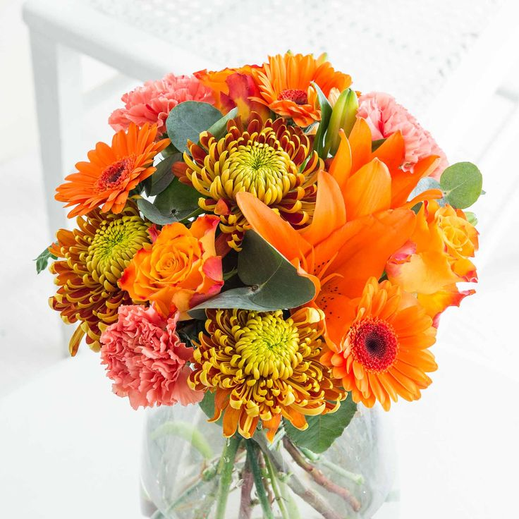 Autumn Blaze: Our Autumn Blaze bouquet typifies the season beautifully with rich orange tones creating an eye catching arrangement - perfect for birthdays, anniversaries or just to send your warm wishes this Autumn.