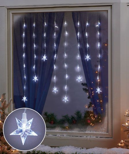 Led window icicle lights holiday pinterest for 6 star window christmas decoration lights