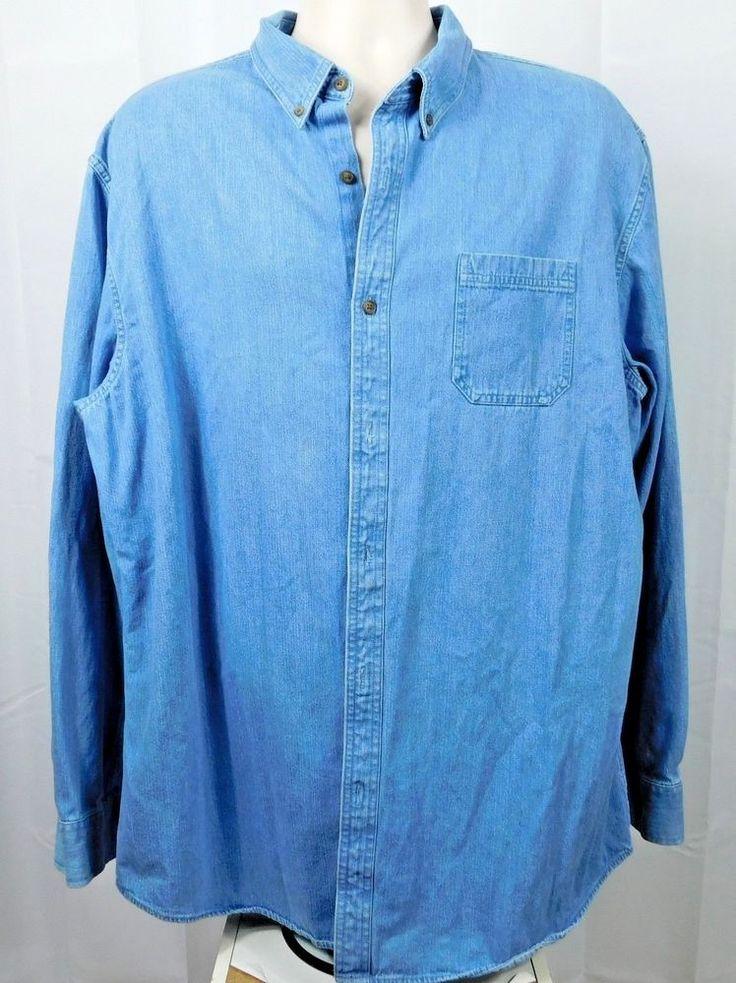 Croft & Barrow XL Blu Mens LS Denim Shirt Button Front Pocket Light Stonewashed #CroftBarrow #ButtonFront