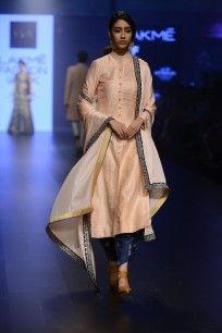 Blush Pink Plain Sherwani and Cowl Pants Set  #Lakmefashionweek2016 #sva #gown #embellished #luxurious #elegance #straightofftherunway #perniaspopupshop #happyshopping