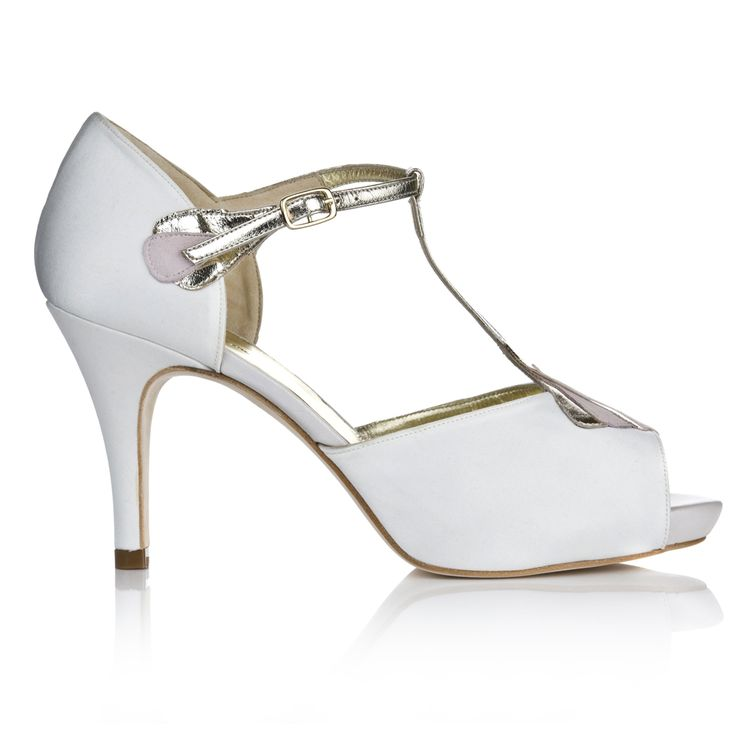 Striking elegant, with a unique art deco style, Carmen, Vintage Inspired Wedding Shoes are a real statement platform. Crafted from stunning ivory satin.
