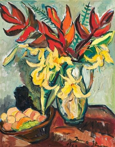 Still Life of Fruit and Lilies in a Jug by Irma Stern