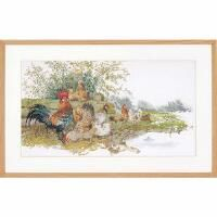 Thea Gouverneur Chickens Counted Cross-Stitch Kit