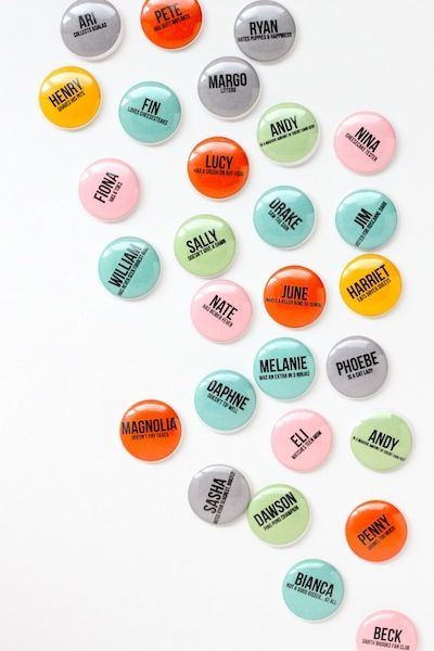 Name Buttons! 10 Best Summer Party Favors | Camille Styles