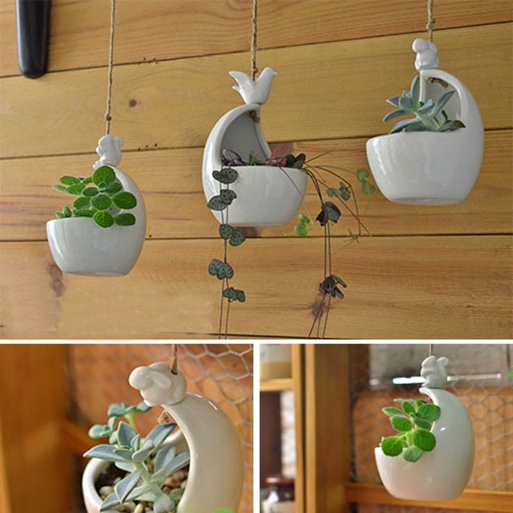 Hanging ceramic flower pots with carved birds rabbit squirrel with rope