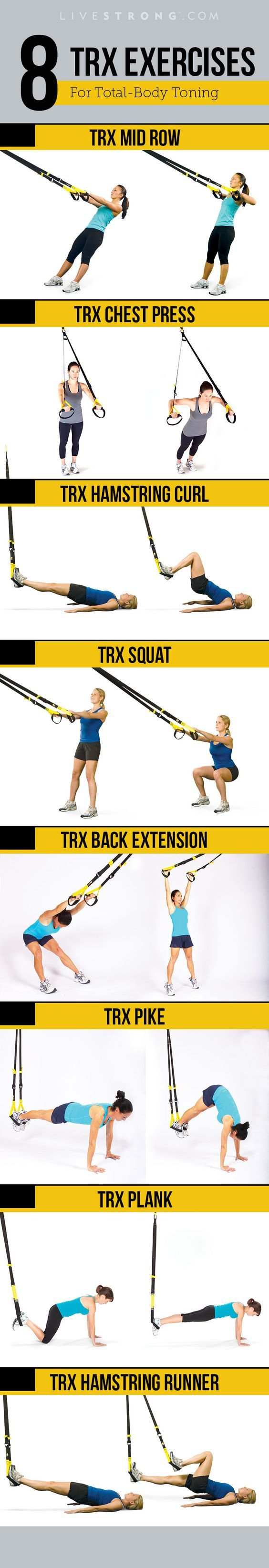 You may have seen those black-and-yellow straps hanging from the ceiling at your gym and wondered how the heck to use them. This deceptively simple piece of equipment is the TRX Suspension Trainer, and it was developed to deliver an incredible total-body workout using only your body weight as resist. LiHao Schlingentrainer Suspensiontrainer TRX Functional Training Fitness - http://www.amazon.de/dp/B00RLH0M6C