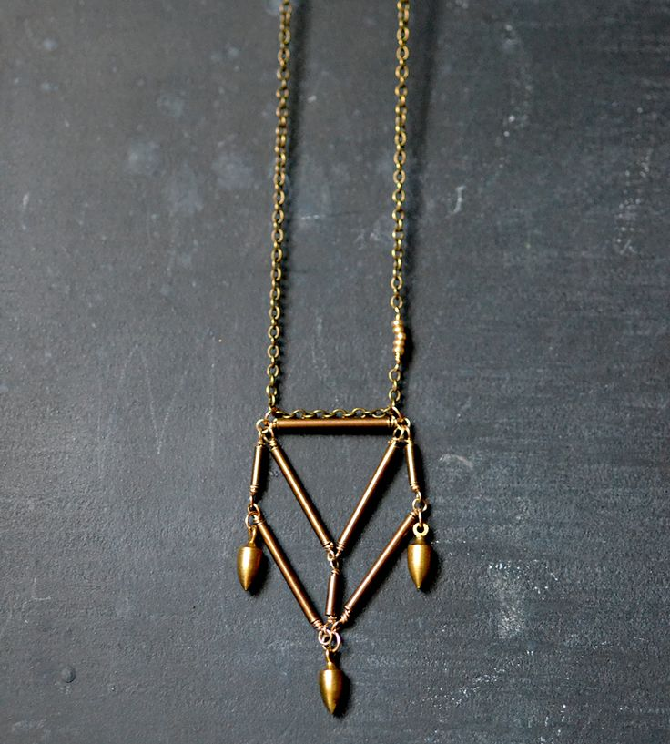 Brass Pentahedron Necklace with Bullet Drops | |Wit & Pepper