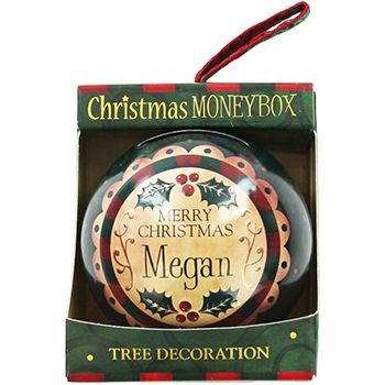 Personalised Money Box Bauble - Megan | Money Boxes at The Works