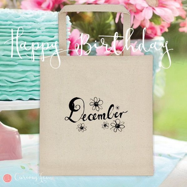 December Birthday Tote Bag – 100% Cotton – Printed Front and Back #fashion #december #birthday #happybirthday #tote #totebag #printed #pencildrawing
