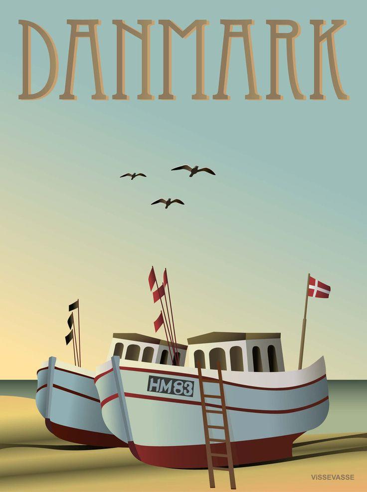 Postkort: DANMARK - Fiskebådene fra Vissevasse.