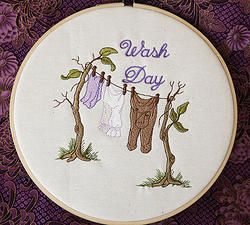 """Wash Day""  8"" machine embroidered hoop art. Can be personalised for your laundry or as a gift for a friend. Finished with stiffened felt for your wall's protection. $22.50 #embroidered #hoop #art #embroideredhoopart"
