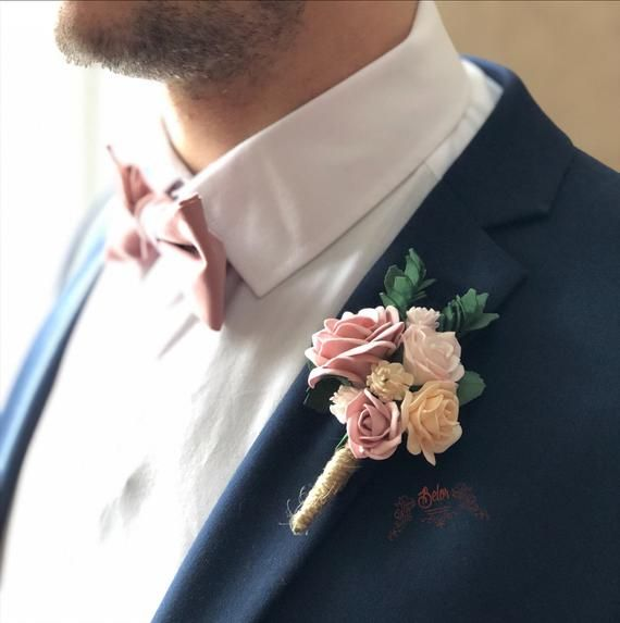 """REAL TOUCH 5/"""" BOUTONNIERE VINTAGE DUSTY ROSE FLOWER GROOM BEST MAN PROM FORMAL"""