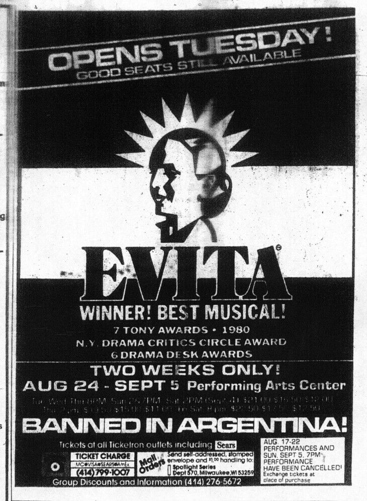 """Promotional Ad for the 1982 Premiere Milwaukee Production of the Andrew Lloyd Webber / Tim Rice musical """"Evita"""" at the Marcus Performing Arts Center."""