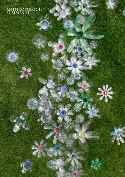 Anthropologie Display - Plastic Bottle Flowers