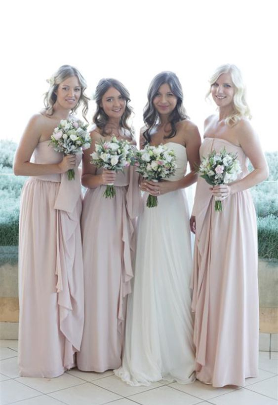 Bridesmaids in blush Zimmerman gowns. love how the brides and bridesmaid dresses have that uniform look. just so pretty...