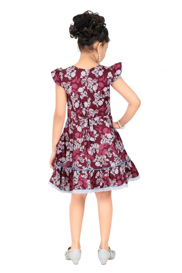 Cotton Party Wear Frocks in Maroon Colour