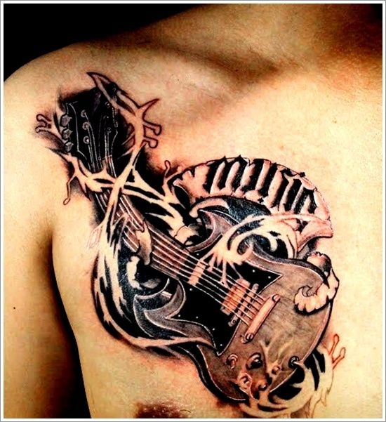 24 Great Guitar Tattoo Designs Ideas For Men