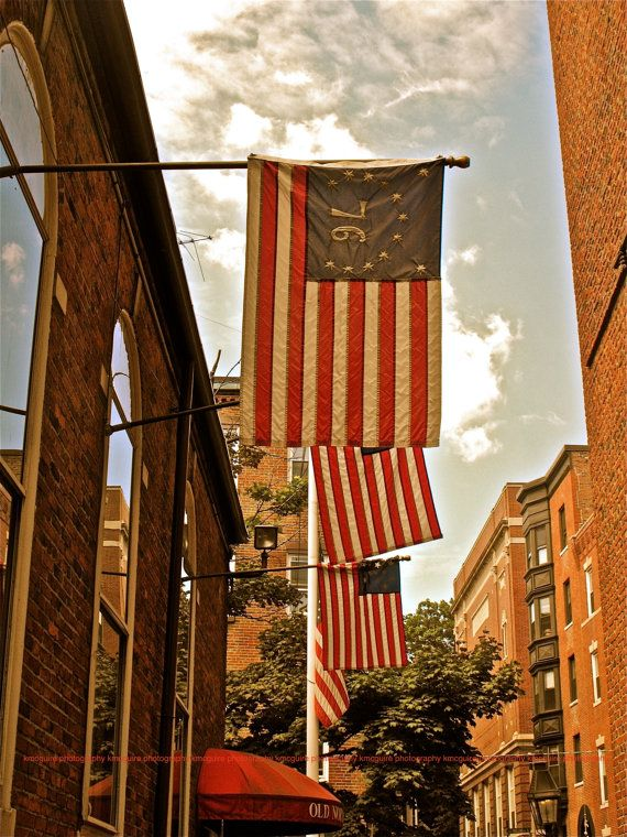 """North End, Boston, Massachusetts American Flags - """"1776"""" - 5x7, Fine Art, Travel Photography, Other sizes available"""