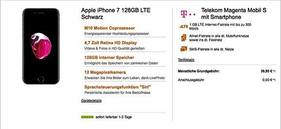 Telekom Magenta Mobil S / Friends mit dem Apple iPhone 7 oder iPhone 7 Plus zum Telekom Vertrag , das Apple iPhone 128GB bekommst Du mit nur 49,00€ Zuzahlung zum Vertrag dazu und beide Mobil S Tarife mit reduzierter Grundgebühr im Netz der Telekom