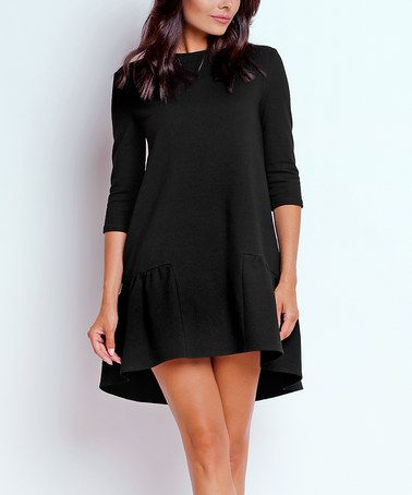 Love this Black Ruffle Hi-Low Dress on #zulily! #zulilyfinds