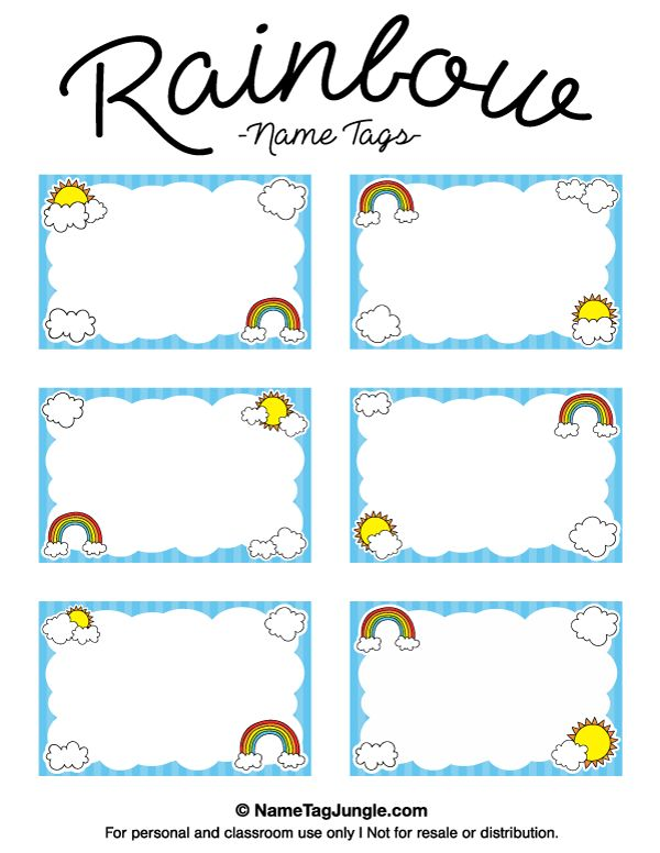 Free printable rainbow name tags with cloud and sun graphics. The template can also be used for creating items like labels and place cards. Download the PDF at http://nametagjungle.com/name-tag/rainbow/