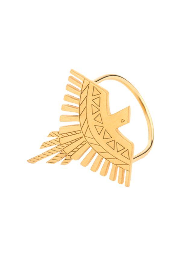 Anel Omnia Aztec em prata 925 banhado a ouro