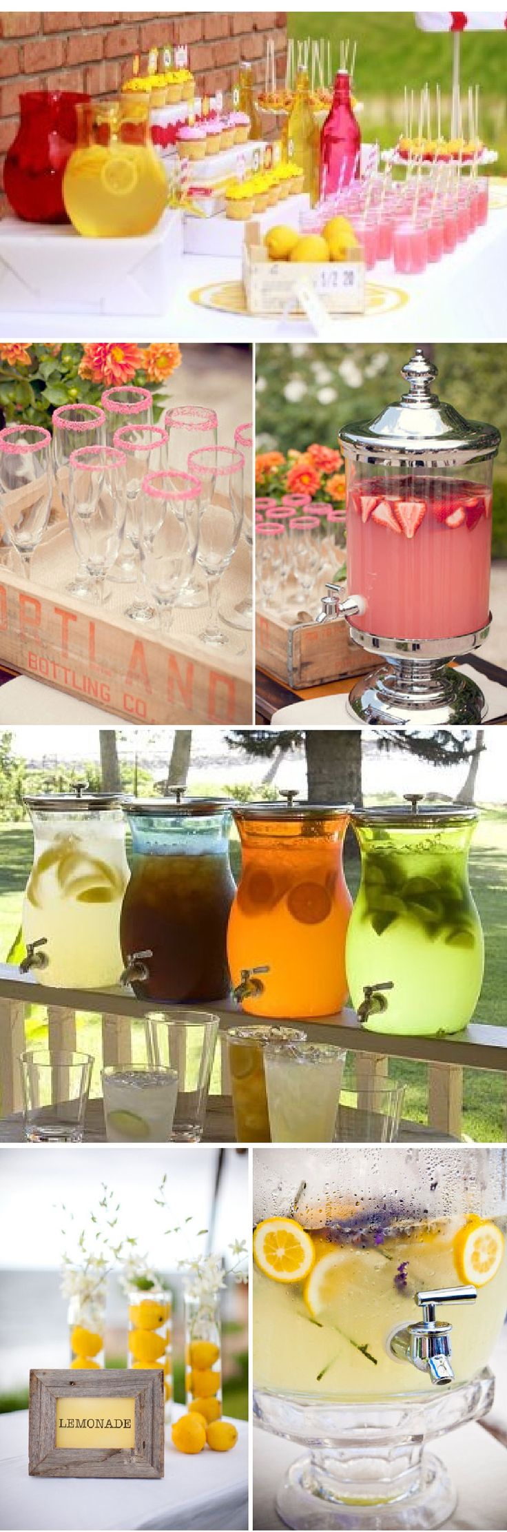 Lemonade Bar - great idea for a wedding or shower!  With and without alcohol. Use small frames, labels or tags to indicate what's in each container. :) Love the fruit and lavender inside