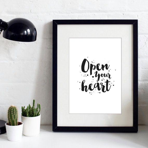 Open Your Heart  Typographic Print  Inspirational by IzzyandPop