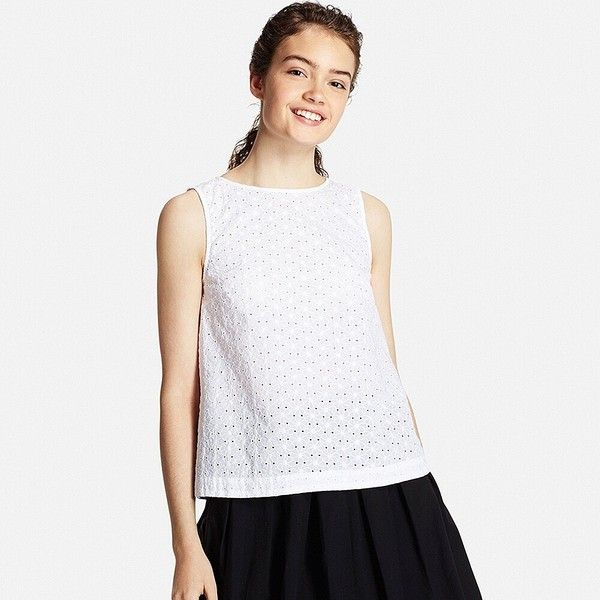 UNIQLO Women Eyelet Lace Sleeveless Blouse ($20) ❤ liked on Polyvore featuring tops, blouses, sleeveless blouse, sleeveless tops, white sleeveless top, embroidered top and white blouse
