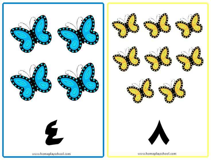 FREE Arabic Numbers 1-10 Butterfly-Themed Flashcards by HomePlaySchool.com