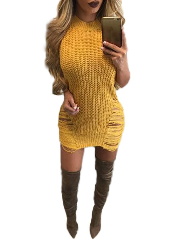 Fashion Women Summer Solid O-Neck Sleeveless Hollow Out Asymmetrical Sweater Dress WT73026. Price: USD12.00. Color: Yellow, White, Army Green. Khaki. Size: M-XL. www.wonder-beauty.com