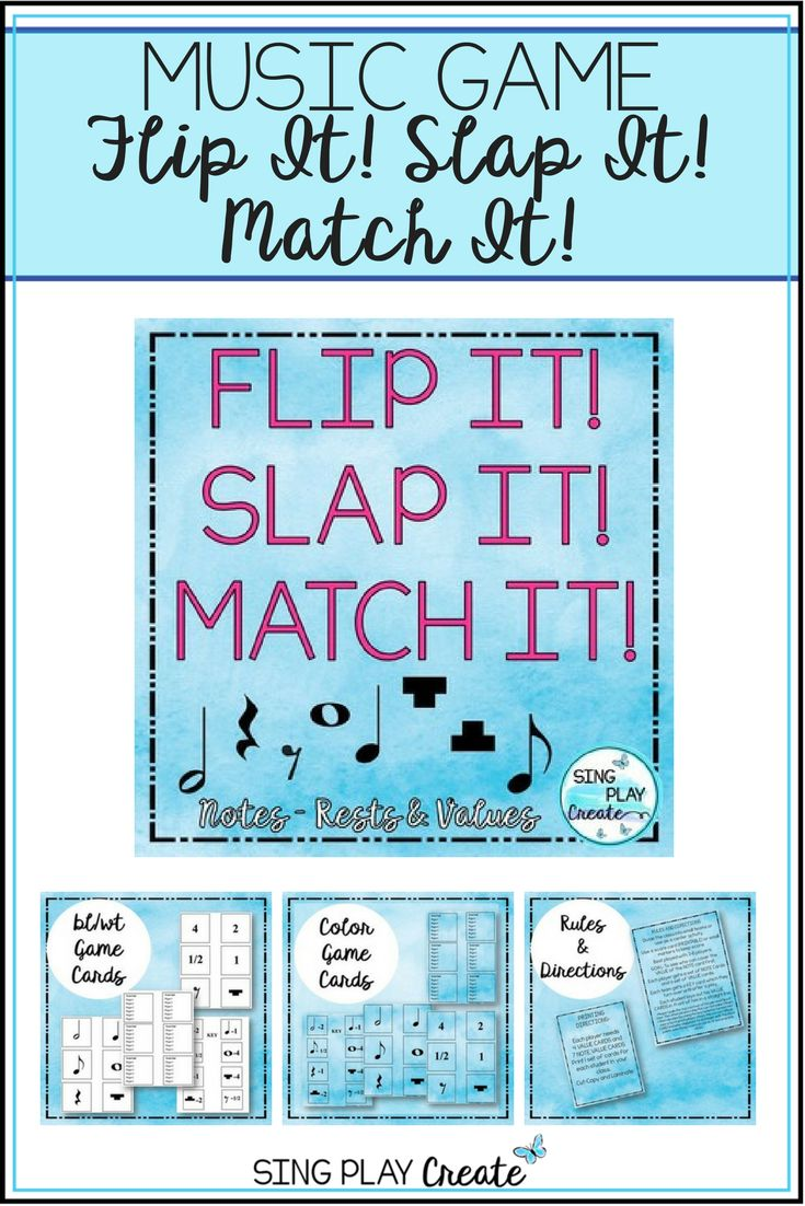 """Music teachers will have fun watching students flip, slap and match up note and rest values. Great for review, subs, or introducing the note values. Imagine standing in line, hold up a flash card and """"BAM"""" every student shows the value of the note or rest correctly!"""