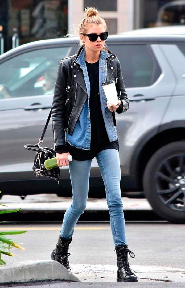 Calça jeans Blusa preta Camisa jeans Jaqueta couro preta Bota coturno Bota preta Blusa branca Bota branca