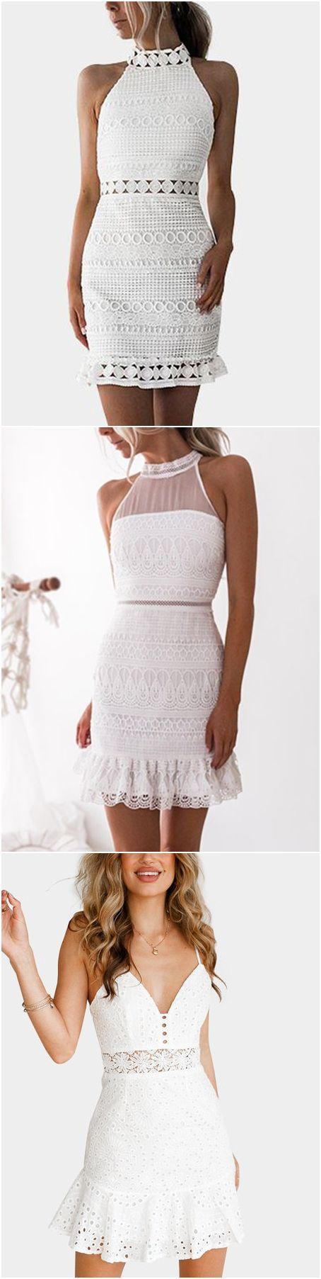 White Lowcout V-neck Criss-cross Back Delicate Lace Slip Mini Dress