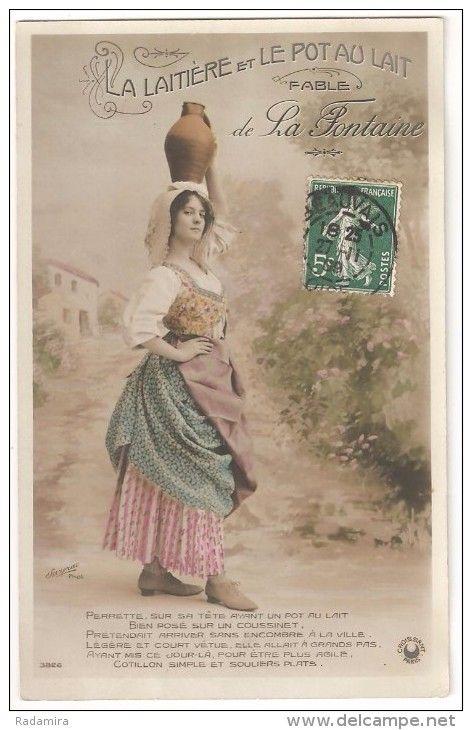 """Carte Postale Ancienne """"LA LAITIÈRE ET LE POT AU LAIT 1."""" France 1909."""