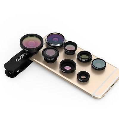 MEMTEQ 8in1 Clip-On Fisheye+Wide Angle+Macro Camera Lens for iPhone 6 6S Plus