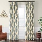 Exclusive Fabrics & Furnishings Francesca Silver and Blue Flocked Faux Silk Curtain – 50 in. W x 96 in. L, Francesca Silver & Blue
