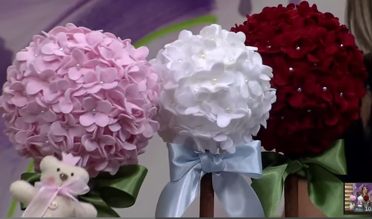 Rosa e Flôr artesanato: Topiaria de Flores de Feltro vídeo ...