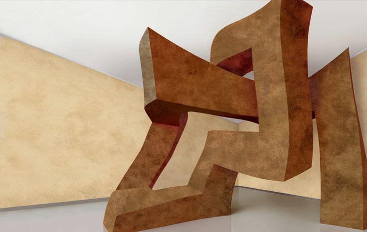 Valpaint - Klondike-Light. A modern, refined  water-based interior paint with unique colour performances and nuances. Decorated  surfaces capture precious metal fragments.