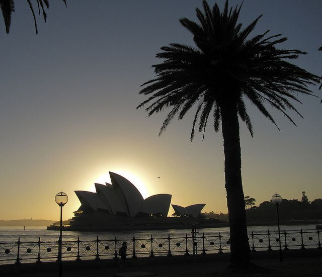 Dawn at The Rocks, Sydney, with the Opera House in silhouette by Zief, via Flickr