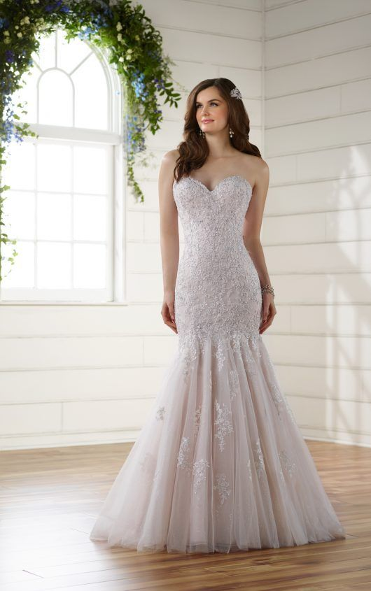 D2116 Lace Trumpet Gown with Tulle Skirt by Essense of Australia